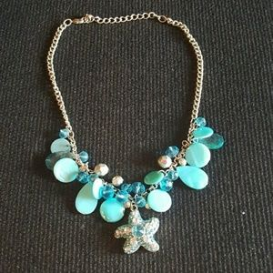 PRETTY TURQUOISE STARFISH Aqua Teal NECKLACE